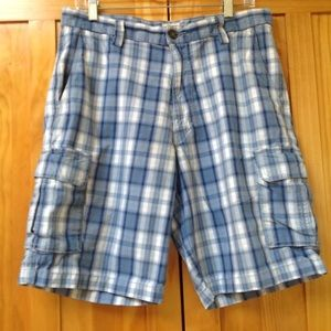 Dockers | Classic Fit Blue Plaid Cargo Shorts